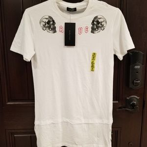 NEW ZARA MAN Long White Shirt Skulls Embroidered S